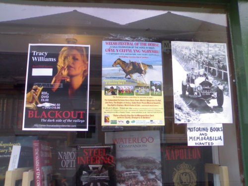 Blackout Poster in window of Andrew Morton Bookshop, Brecon